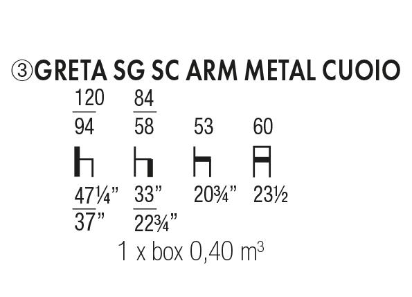Greta SG SC Arm Metal Cuoio
